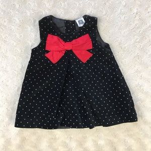 Carter's Black Dress Red Bow Polka Dots 3 Months